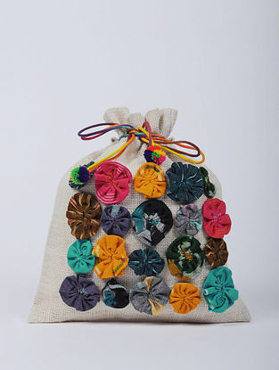 Multicolored Hand made Jute Potli