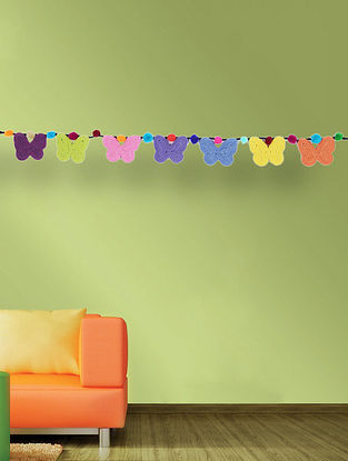 Multicolored Handcrafted Dori Bunting with Butterfly Design (35in x 3.5in)