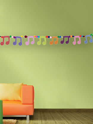 Multicolored Handcrafted Dori Bunting with Music Note Designs (36in x 2.2in)