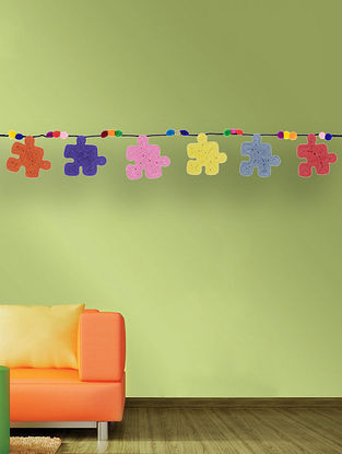 Multicolored Handcrafted Dori Bunting with Puzzle Design (37in x 4in)