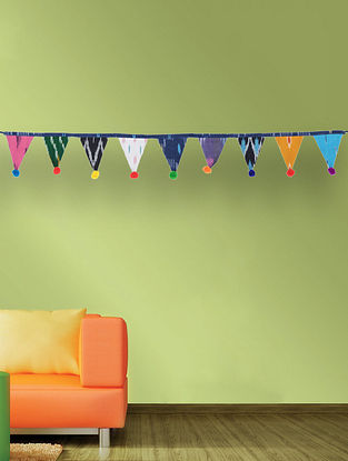 Multicolored Handcrafted Cotton Ikat Bunting (35in x 2.5in)