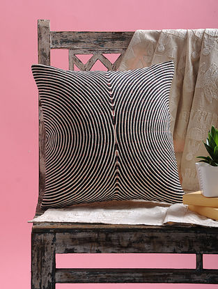 Black-White Cotton Cushion Cover (15.5in x 15.5in)