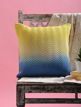 Yellow-Blue Ombre Net Cushion Cover with Dori (16in x 16in)