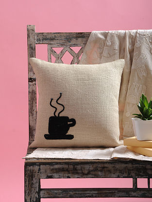Cream-Black Dori Embellished Cotton Cushion Cover with Coffee Mug Design (15.5in x 15.5in)