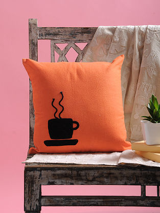 Orange-Black Dori Embellished Cotton Cushion Cover with Coffee Mug Design (15.5in x 15.5in)