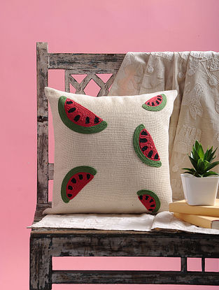 Red-Green Dori Embellished Jute Cushion Cover with Watermelon Design (15.5in x 15.5in)