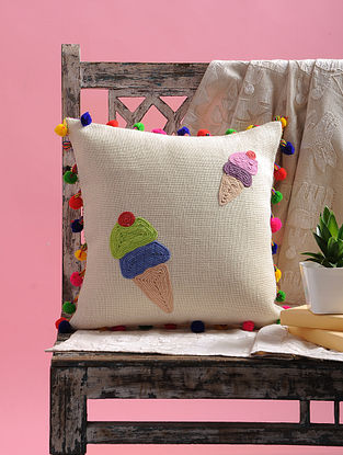 Cream Dori Embellished Jute Cushion Cover with Ice cream Design and Pom-pom (15.5in x 15.5in)