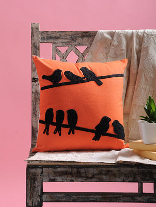 Orange-Black Dori Embellished Cotton Cushion Cover with Bird Design (15.5in x 15.5in)