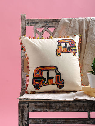 White-Multicolored Dori Embellished Cotton Cushion Cover with Auto Rikshaw Design and Pom-pom (15.5in x 15.5in)