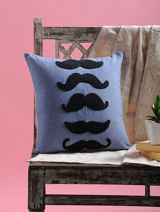 Blue-Black Dori Embellished Cotton Cushion Cover Mustachio Design (15.5in x 15.5in)