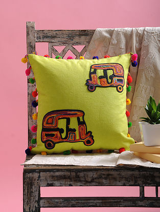 Multicolored Dori Embellished Cotton Cushion Cover with Pom-pom and Auto Rikshaw Design (15.5in x 15.5in)