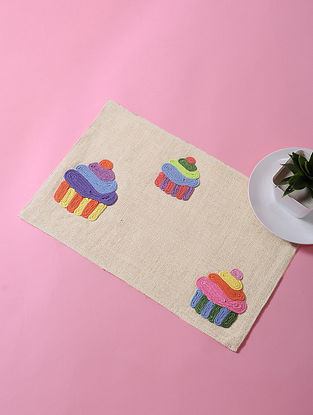 Cream-Multicolored Dori Embellished Cotton Place Mat with Cupcake Design (17in x 11in)