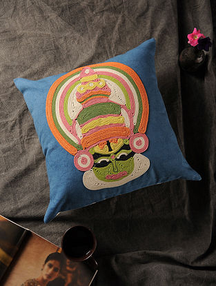 Blue-Multicolored Handmade Dori Embroidered Canvas Cushion Cover with Kathakali Motif (16in x 16in)