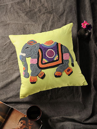 Multicolored Handmade Dori Embroidered Canvas Cushion Cover with Elephant Motif (16in x 15.5in)