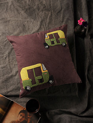 Multicolored Handmade Dori Embroidered Canvas Cushion Cover with Auto Rickshaw Motif (16in x 16in)