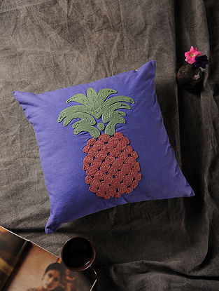Voilet-Multicolored Handmade Dori Embroidered Canvas Cushion Cover with Pineapple Motif (16in x 16in)