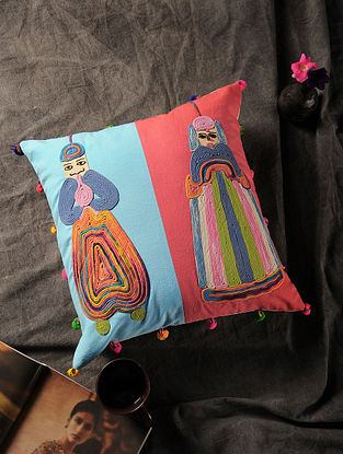 Blue-Multicolored Handmade Dori Embroidered Canvas Cushion Cover with Puppet Motif (16in x 15.5in)