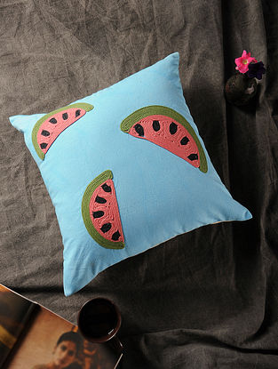 Blue-Multicolored Handmade Dori Embroidered Canvas Cushion Cover with Watermelon Motif (16in x 16in)