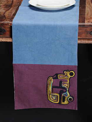 Blue-Multicolored Handmade Dori Embroidered Canvas Runner with Auto Rickshaw Motif (60in x 13in)