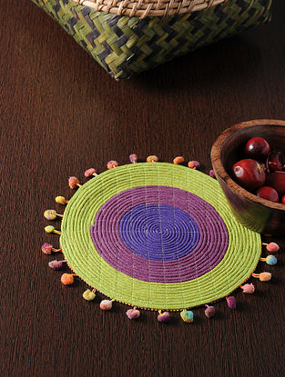 Multicolored Handmade Cotton Table Mat (8.5in x 8.5in)