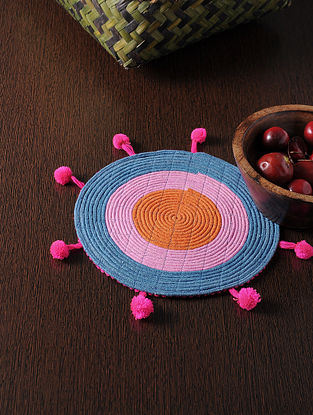 Multicolored Handmade Cotton Table Mat (8in x 8in)