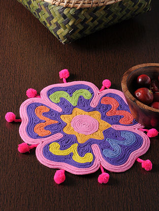 Multicolored Handmade Cotton Rangoli Flower Table Mat (10in x 10in)
