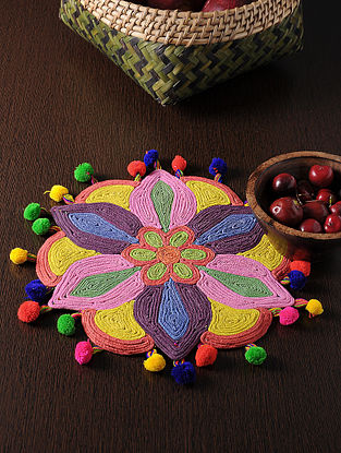 Multicolored Handmade Cotton Rangoli Colorful Table Mat (12in x 12in)
