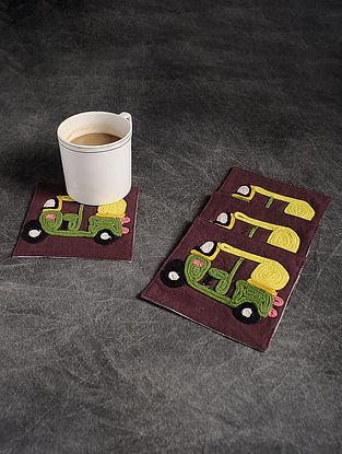 Green-Multicolor Handmade Dori Embroidered Cotton Coaster (Set of 4) (4.2in x 4.2in)