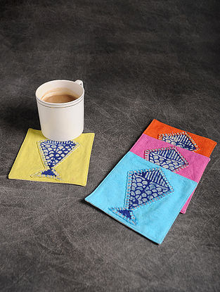 Multicolor Handmade Dori Embroidered Cotton Coaster (Set of 4) (4.2in x 4.2in)