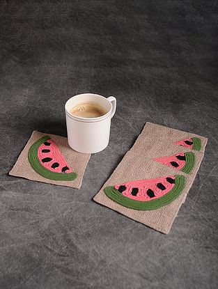 Red-Multicolor Handmade Dori Embroidered Cotton Coaster (Set of 4) (4.2in x 4.2in)