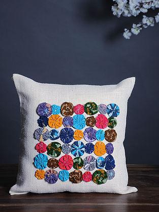 White-Multicolor Handmade Dori Embroidered Cotton Cushion Cover (15.5in x 15.5in)