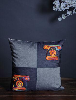 Multicolor Handmade Dori Embroidered Cotton Cushion Cover (15.5in x 15.5in)