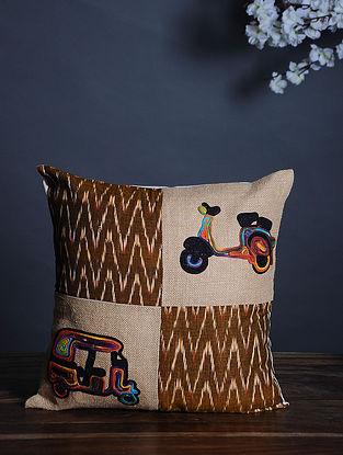 Multicolor Handmade Dori Embroidered Cotton Cushion Cover (16in x 16in)
