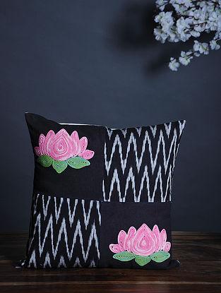 Black-Multicolor Handmade Dori Embroidered Cotton Cushion Cover (15.5in x 15.5in)