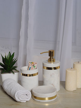 Cylindrical White Marble Bath Set with Brass Ring (Set of 3)