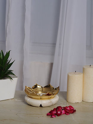Lotus White Marble and Brass Tealight Holder (Dia- 4in, H- 2in)