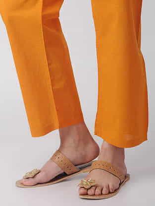 Yellow Tie-up Waist Handloom Cotton Pants by Jaypore