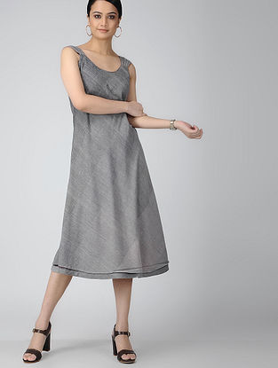 Maroon-Grey Reversible Handloom Cotton Dress