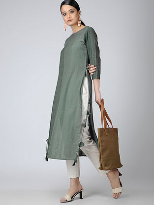 Green Handloom Cotton Kurta with Tassels