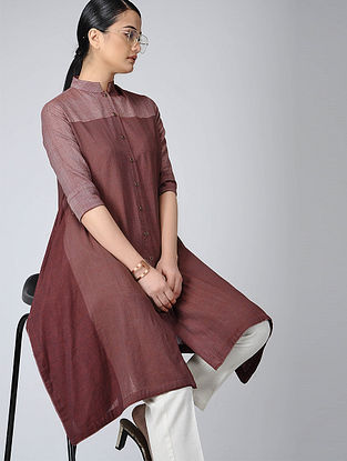 Maroon Front-open Handloom Cotton Kurta with Pockets