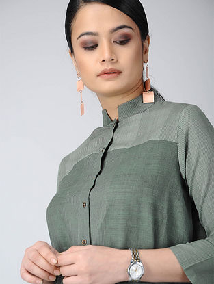 Green Front-open Handloom Cotton Kurta with Pockets