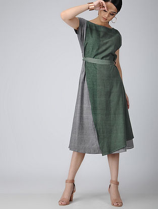 Green-Grey Handloom Cotton Dress with Belt