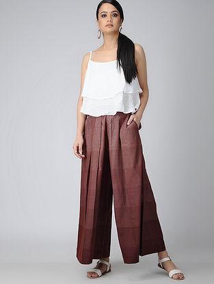 Maroon Elasticated-waist Handloom Cotton Pleated Pallazos