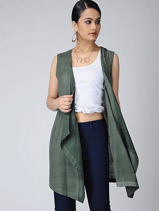 Green Handloom Cotton Cape