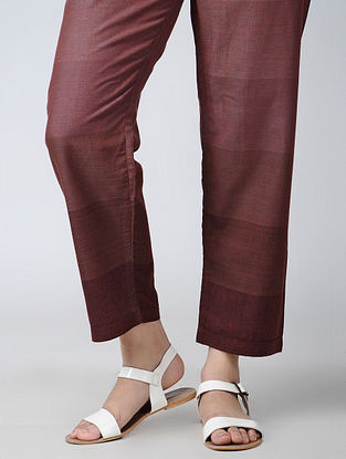 Maroon Tie-up waist Handloom Cotton Pants