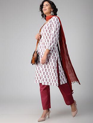 Ivory-Pink Block-printed Cotton Kurta