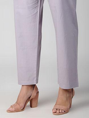 Purple Tie-up Waist Cotton Pants