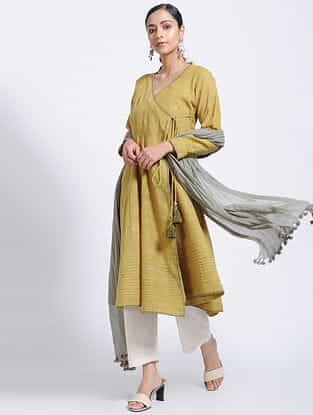 Mustard Natural-dyed Jamdani Cotton Kurta