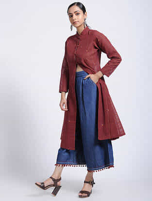 Madder Natural-dyed Jamdani Cotton Kurta