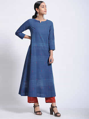 Indigo Natural-dyed Jamdani Cotton Kurta